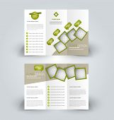 Brochure template. Business trifold flyer.  Creative design trend for professional corporate style. Vector illustration. Green color. poster