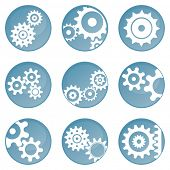 Nine blue wheel icons (buttons) poster