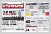 Newspaper design template with red headline, images and charts, articles and financial information, advertising vector illustration poster