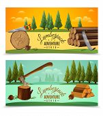 Lumberjack woodcutter outdoor adventures 2 banners set with ax saw and fairytale woodland background isolated vector illustration poster
