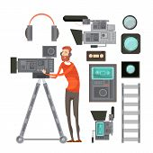 Film cameraman with video equipment including tape headphones filters for objective lens vhs player isolated vector illustration poster