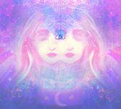 Woman with third eye psychic supernatural senses , raster poster