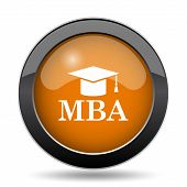 MBA icon. MBA website button on white background. poster