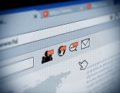 web browser with social media notification icon illustration internet and social media marketing poster