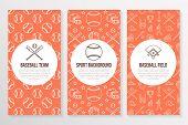 Baseball, softball sport game brochure template, flyer. Vector trifold orange background. Equipment thin line icons - bats, balls, field. Illustration for team poster. poster