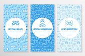 Ophthalmology, medical brochure template, flyer. Eye health care thin line icons laser vision correction, eyesight check, doctor. Cute illustration for hospital poster. Vector trifold blue background. poster