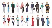 Set of different people profession. flat illustration. Manager, doctor, builder, cook, postman, waiter, pilot, policeman photographer fireman veterinarian teacher maid programmer and other poster