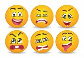 Smileys with different face expression stuck. Happiness, anger, joy, fury, sad, playful, fear, surprise comic yellow faces, round emoji characters. Cute isolated vector facial expressions icon set. poster