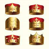 Golden royalty crown isolated set. Medieval heraldic symbol, beautiful monarchy 3d design element for label, certificate or diploma. King, queen, prince or princess attribute vector illustration. poster