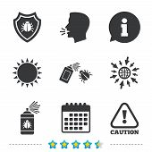 Bug disinfection icons. Caution attention and shield symbols. Insect fumigation spray sign. Information, go to web and calendar icons. Sun and loud speak symbol. Vector poster