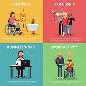 Concept pictures of disabled people rehabilitation. Human friendship. Vector banner set. Disability people medical rehabilitation, illustration of medicine rehabilitation for invalid poster