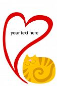 funny striped red thick cat with heart poster