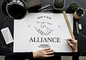 Alliance Partnership Teamwork Support Handshake Graphic poster