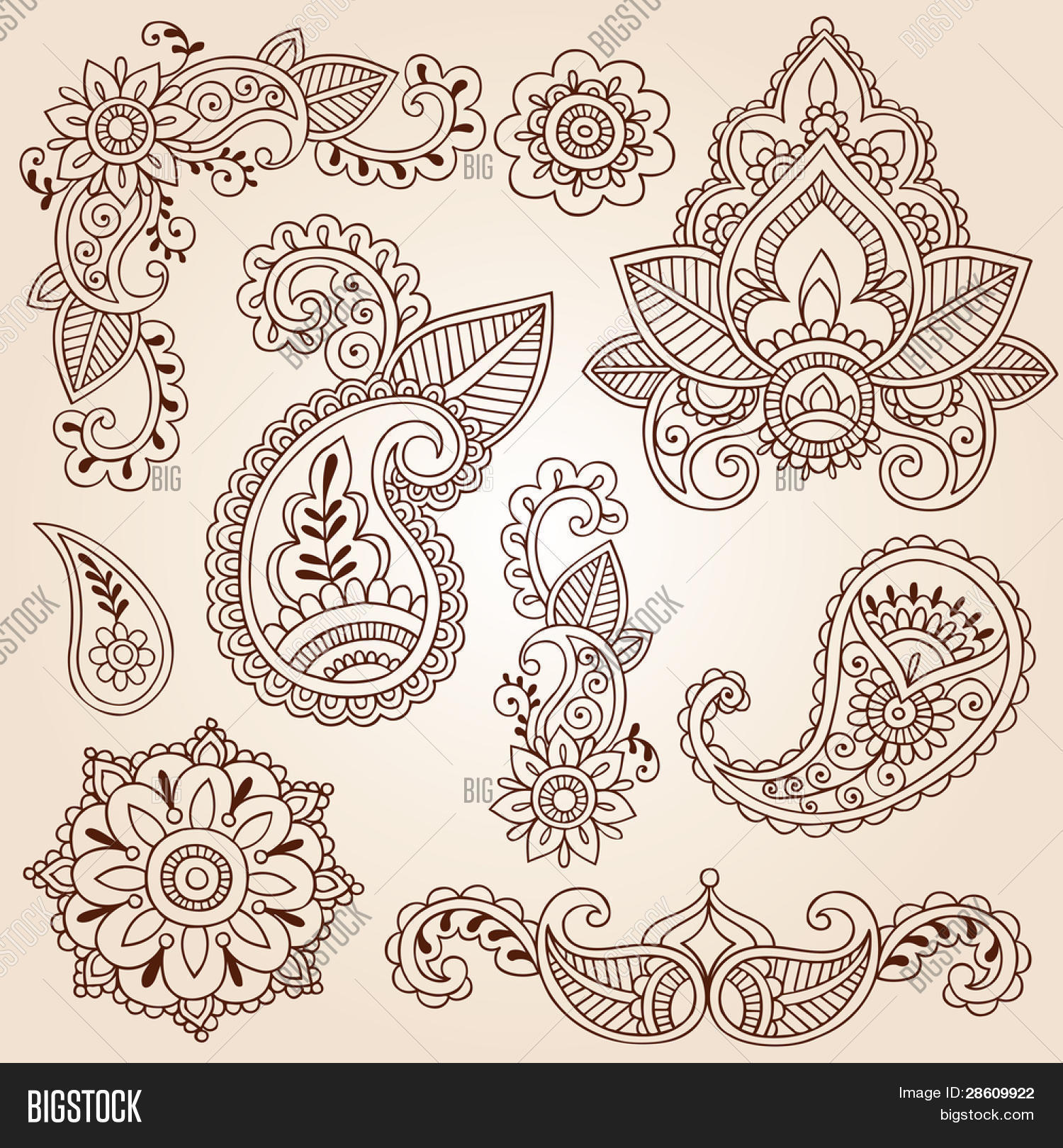 Henna Mehndi Doodles Vector & Photo (Free Trial) | Bigstock