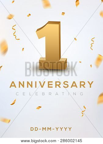 1st Anniversary Gold Numbers With Golden Confetti. Celebration 1 Anniversary Event Party Template.