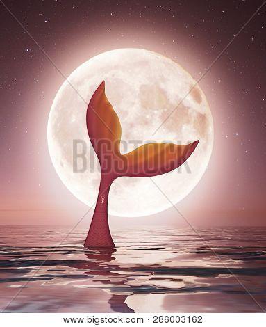 Mermaid Enjoy The Moonlight,3d Rendering Conceptual Background