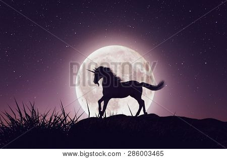 Unicorn With The Moonlight,3d Rendering Conceptual Background