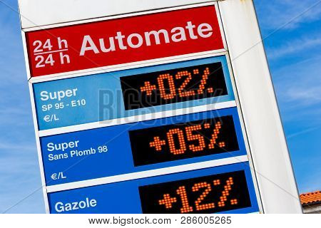 Closeup On Gas Station Sign Displaying Different Oils Energies Super, Super Unleaded, Diesel (