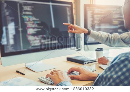 Developing Programmer Team Development Website Design And Coding Technologies Working In Software Co