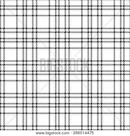 Minimal Monochrome Black White Seamless Tartan Check Plaid Pixel Pattern For Fabric Designs. Gingham