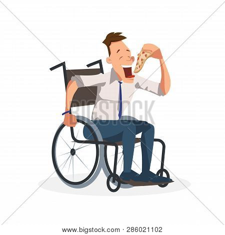 Coworker Sit In Wheelchair With Slice Of Pizza. Happy Disabled Office Worker In Formal Outfit Have I