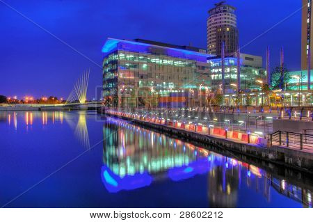 Manchesters new Media City and the BBC building poster