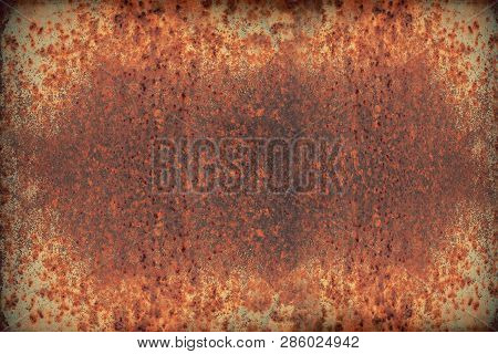 Texture Of Red Weathered Iron Or Rusty Metal Iron Plate, Industry Background
