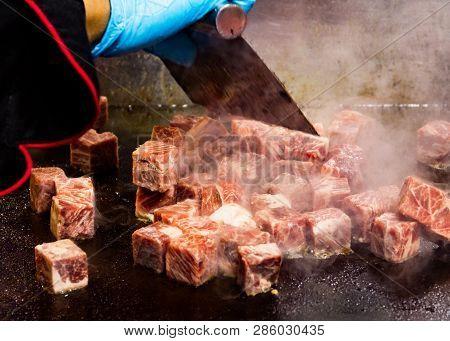 Grilled Kobe Beef Cube, Kobe Beef Teppanyaki Steak