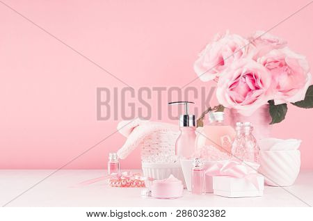 Bath Cosmetics Products, Romantic Bouquet And Accessories In Elegant Pastel Pink Color - Massage Ros