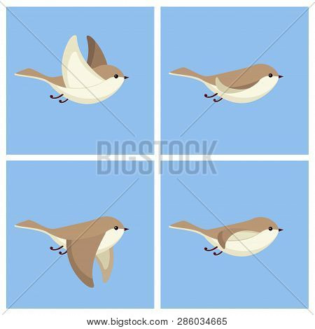 Vector Illustration Of Cartoon Little Flying Bird Sprite Sheet. Can Be Used For Gif Animation