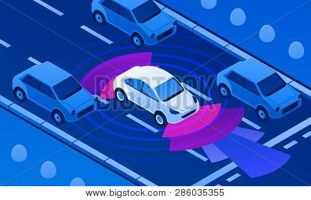 Driverless Car On Road Banner. Isometric Illustration Of Driverless Car On Road Vector Banner For We