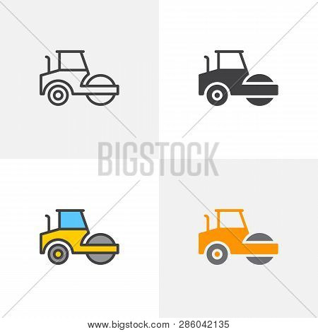 Road Roller Icon. Line, Glyph And Filled Outline Colorful Version, Steamroller Truck Construction Ma
