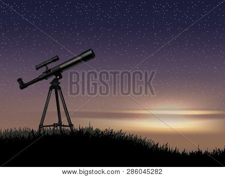 Silhouette Of Telescope On The Rock With The Star At The Sky Sunset