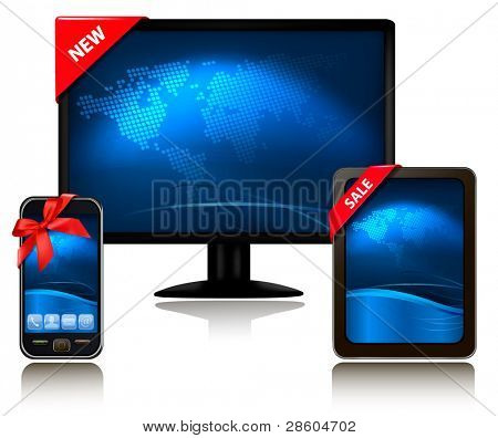 Monitor and tablet computer and mobile phone with ribbons. Vector.