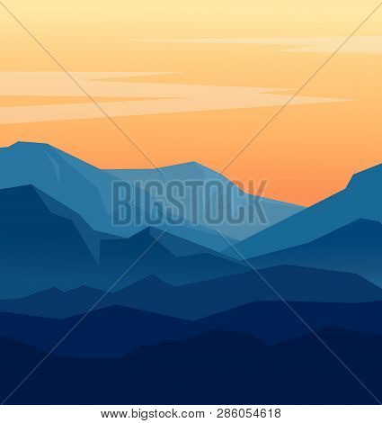Vector Landscape With Blue Silhouettes Of Mountains And Orange Evening Sky. Huge Geometric Mountain