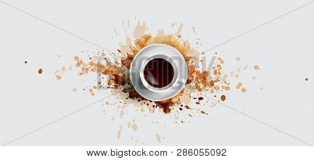 Coffee Concept On White Background - White Coffee Cup, Top View With Watercolor Coffee Splashes. Han