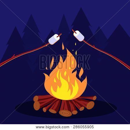 Bonfire And Marshmallow. Friends In Night Camping At Campfire. Marshmallow Vector Concept. Illustrat