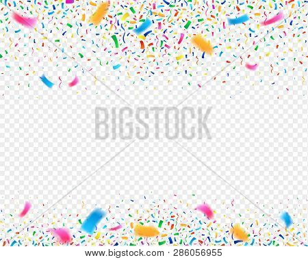 Color Confetti Carnival Party Background. Falling Confetti Ribbons. Fiesta Celebration, Birthday Or