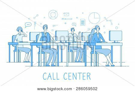 Call Center Concept. Customer Support Service Helpdesk Services Call Center Computers Operator Suppo
