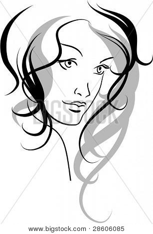 Vector face of a beauty girl
