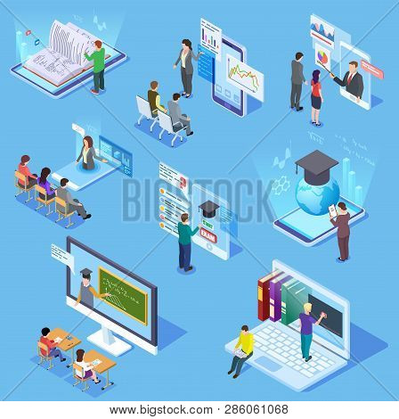 poster of Online people education. Virtual classroom library students, professor teacher, learning training smartphone. Education vector set. Online education and training, web library and teacher illustration
