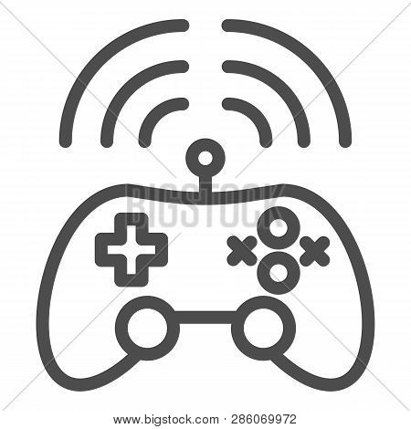 Wireless Game Controller Line Icon. Joypad Vector Illustration Isolated On White. Game Console Outli