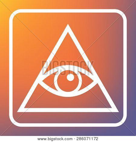All Seeing Eye Pyramid Symbol. Freemason And Spiritual. Vector. White Icon On Transparent Button At