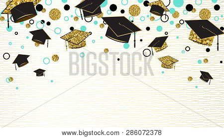 Graduation Word With Graduate Cap, Black And Gold Color, Glitter Dots On A White Background. Congrat