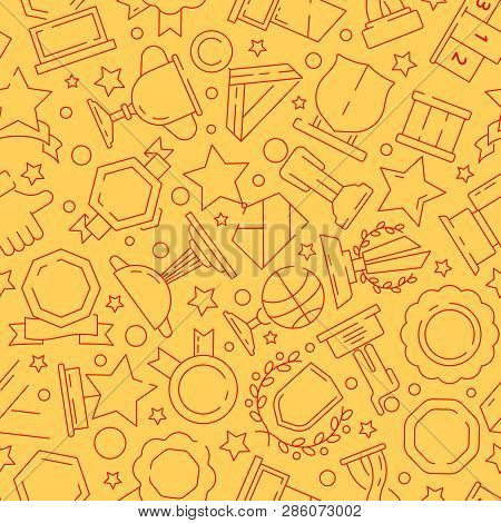 Trophy Pattern. Sport Winner Rewards Medal And Cups Textile Texture Vector Seamless Background Thin