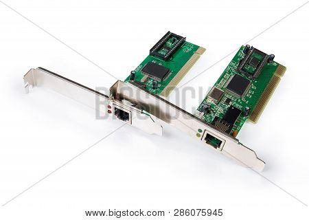 Two Different Used Network Interface Controller Cards Also Known As Network Adapter For Pci Bus With