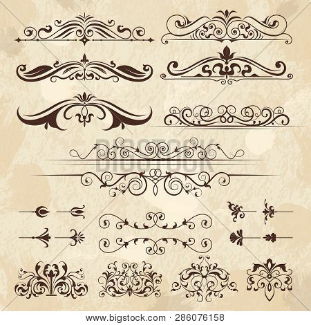 Vintage Frame Elements. Calligraphy Borders And Corners Filigree Classic Retro Vector Design Templat