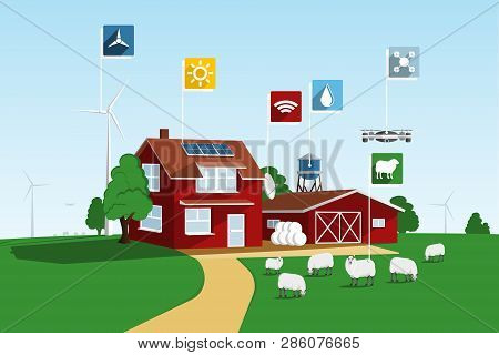 Modern Smart Farm Using Renewable Energy And Drones. Digital Agriculture. Vector Illustration