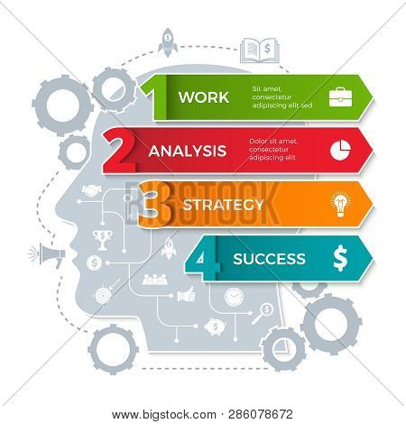 Human Head Infographic. Global Business Processes Conceptual Ideas In Brain Vector Design Template.