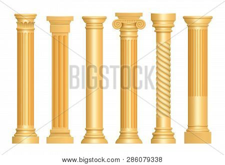 Golden Antique Column. Classic Roman Pillars Architectural Art Sculpture Pedestal Vector Realistic.